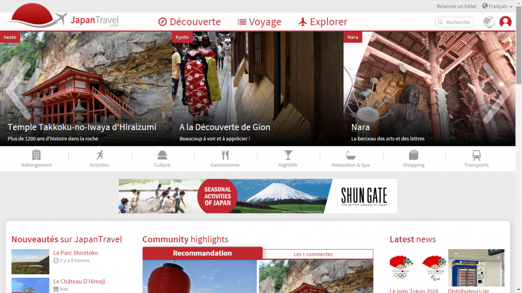 Japan Travel Site Web