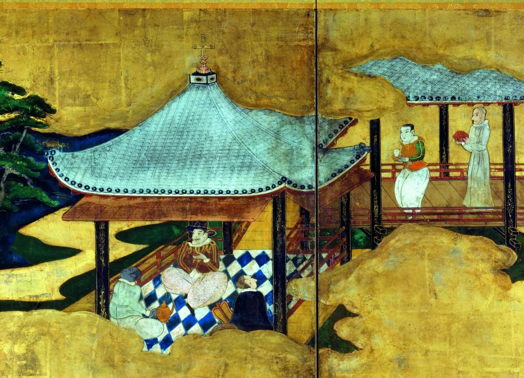 Détail du paravent droit représentant la Nau do Trato (kurofune) et des nanban-jin.Japon, école Kanō (?) Fin de la période Azuchi-Momoyama, début du XVIIe siècle (c.1600-1610).© Museu Nacional de Soares dos Reis, Porto, Direção-Geral do Pa