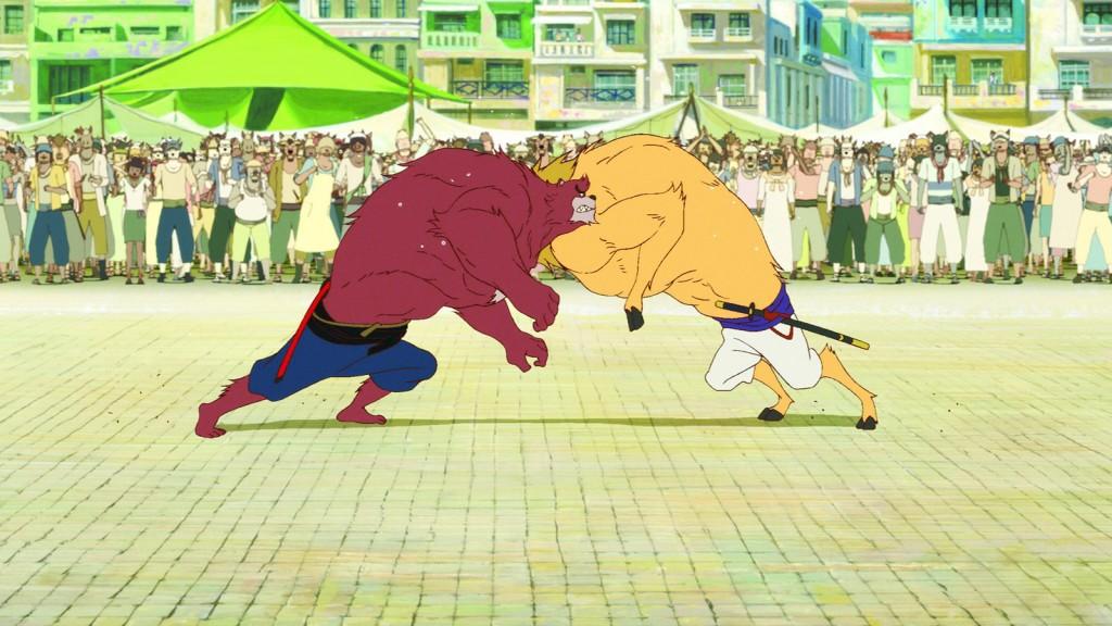 L'une des séquences de combat du film, illustrant toute la puissance de Kumatetsu