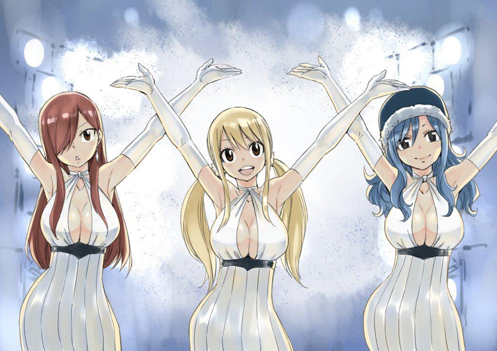 Erza, Lucy et Jyuba © Twitter de Hiro Mashima