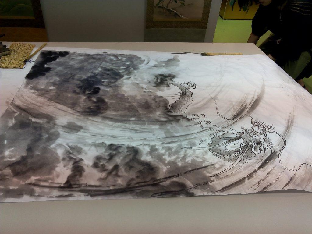 Peinture à l'encre de Chine réalisée par Tsutomu Hirao à Japan Expo