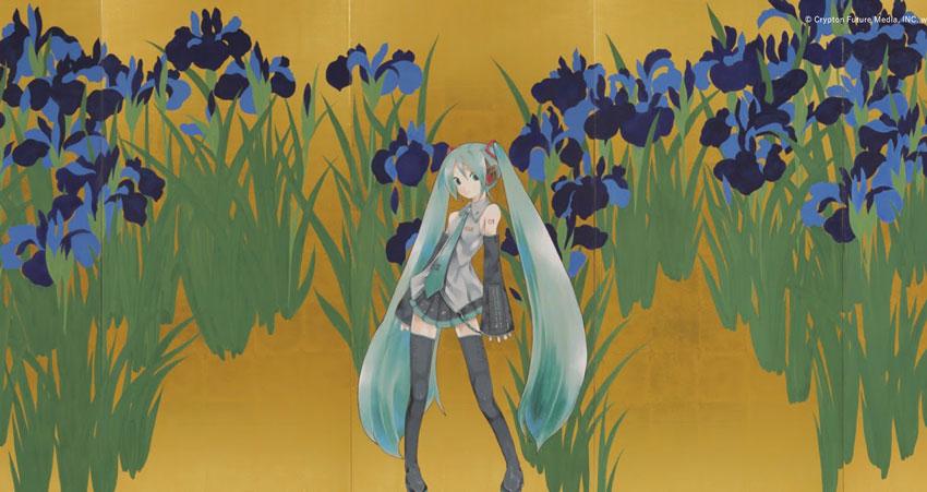 Hatsune Miku dans les Iris ©TOYOWADO