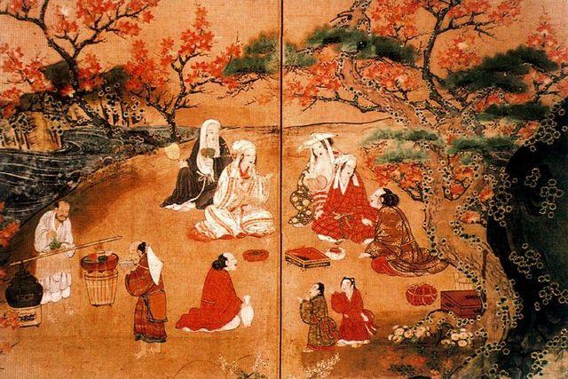 Période Heian, déjeuner sur les momiji