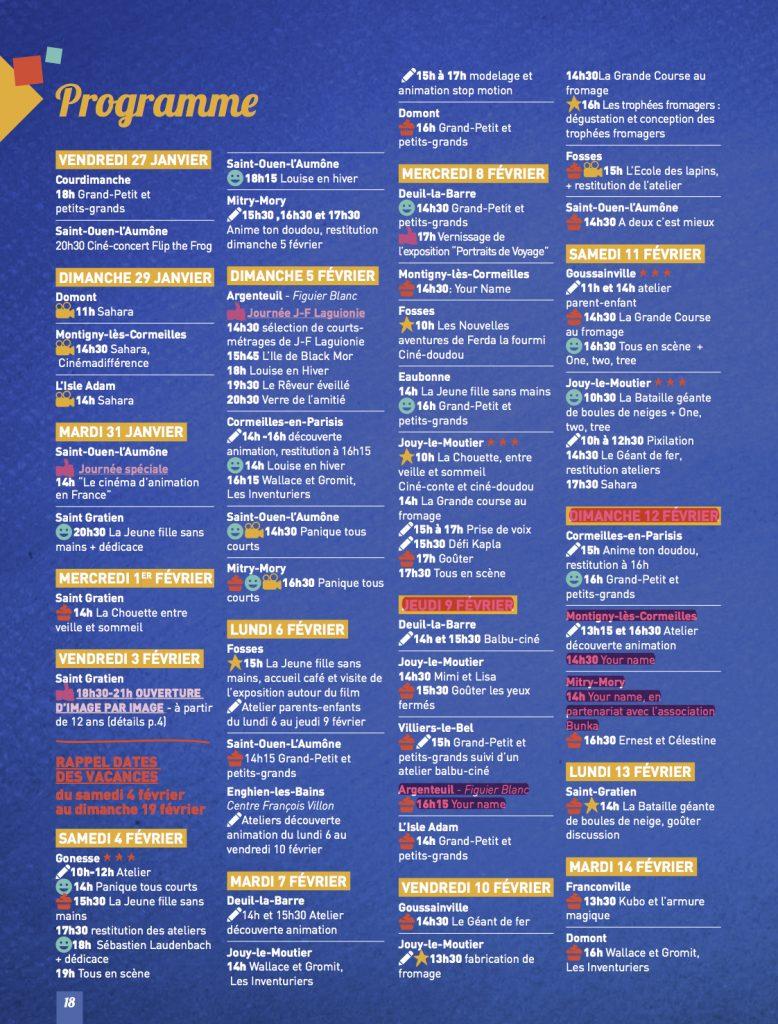 17ème Edition du Festival du Cinéma d'Animation du Val d'Oise Programme 2