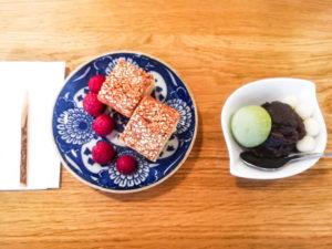 Misômatsuzake - Spécialité de Kyoto accompagnée d'une coupe de mochi, azuki et shiratama