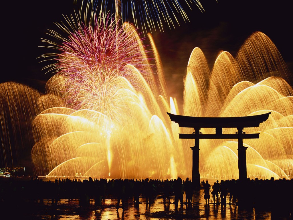 Feu d'artifice du nouvel an à Miyajima