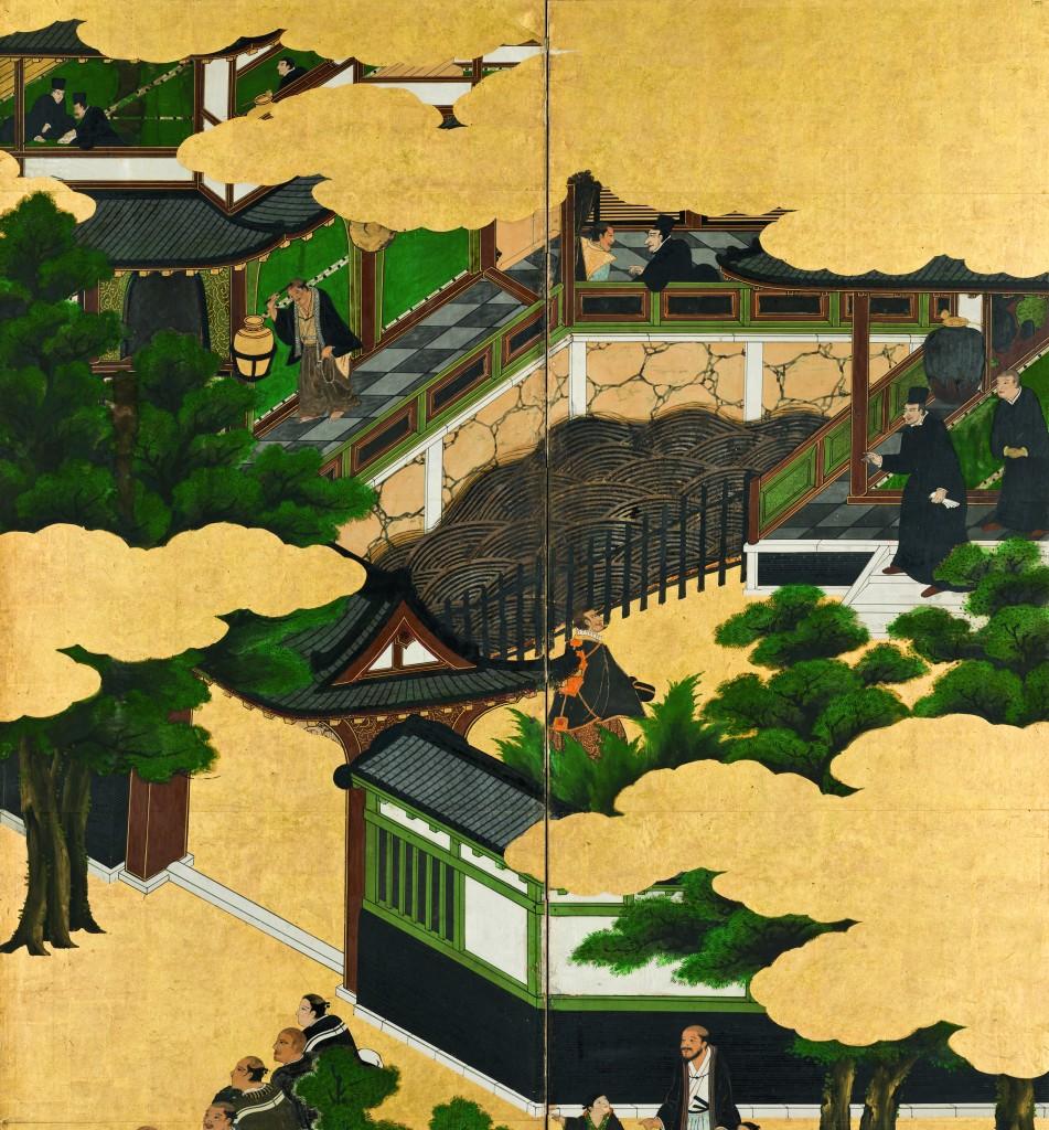 Détail du paravent droit représentant la Nau do Trato (kurofune) et des nanban-jin. Japon, attribué à Kanō Domi Période Azuchi-Momoyama, fin du XVIe siècle- début du XVIIe siècle (c. 1593-1614). © Museu Nacional de Arte Antiga, Lisbonne, Dire