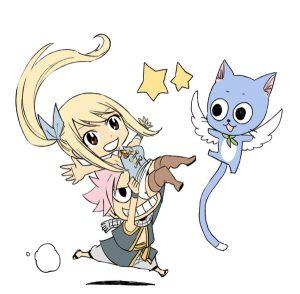Natsu, Lucy et Happy, © Twitter de Hiro Mashima