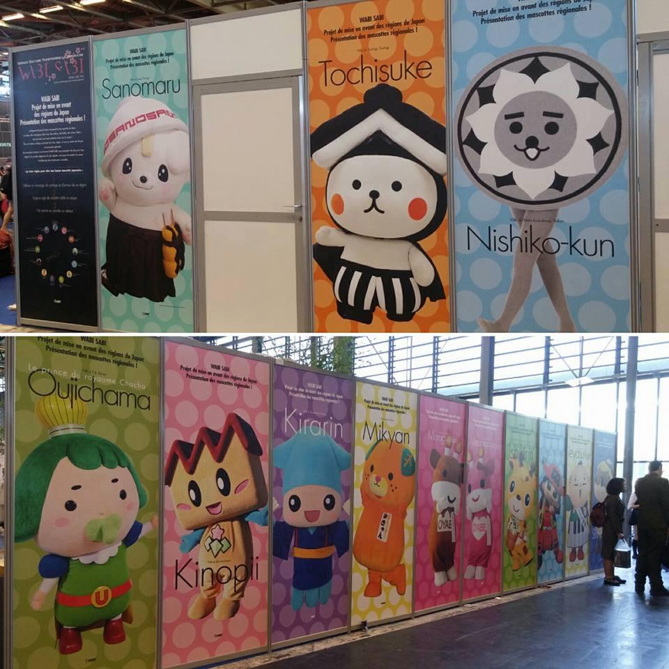 Panneaux indiquant toutes les mascottes présentes à Japan Expo