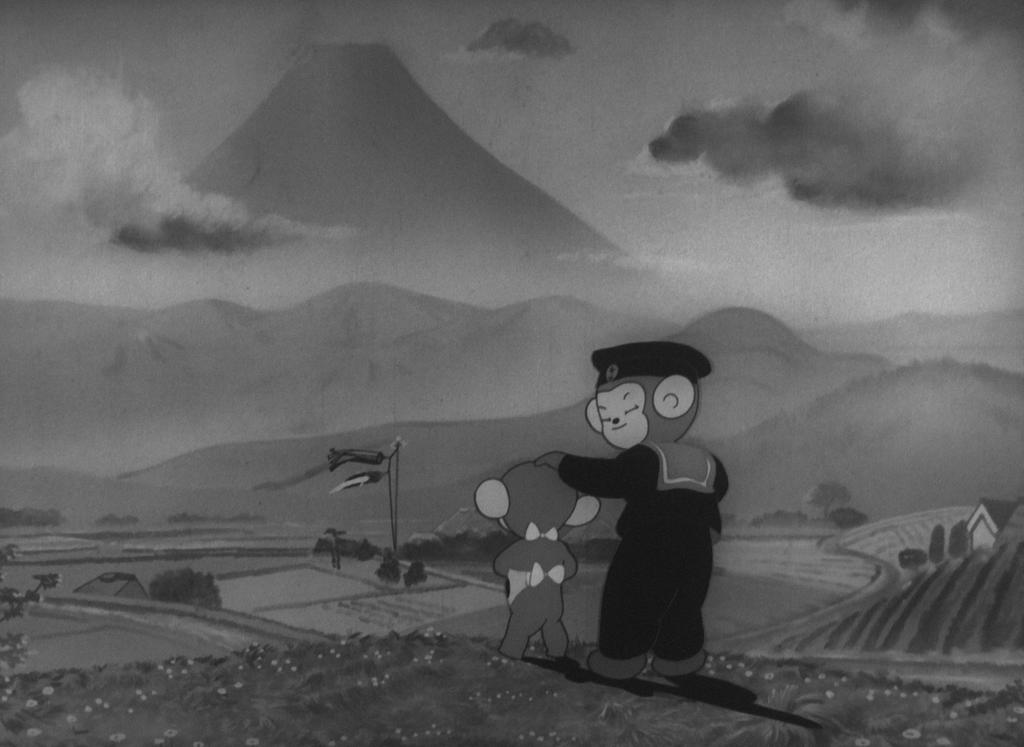 Les singes dans le film Momotaro, le divin soldat de la mer