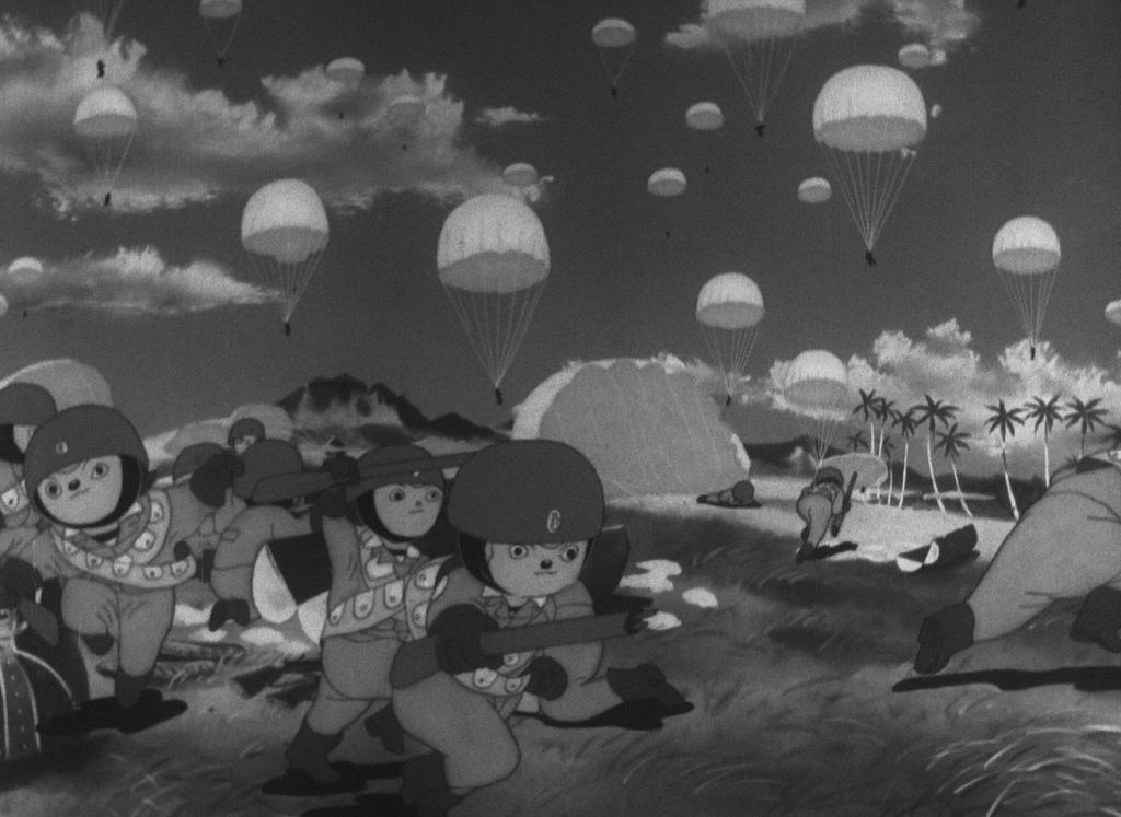 Les parachutistes du film Momotaro, le divin soldat de la mer