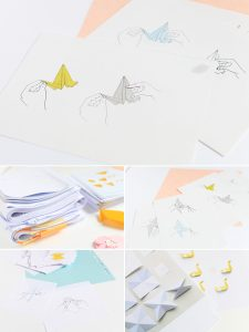 dessins pour illustrer le livre L'origami comme par magie