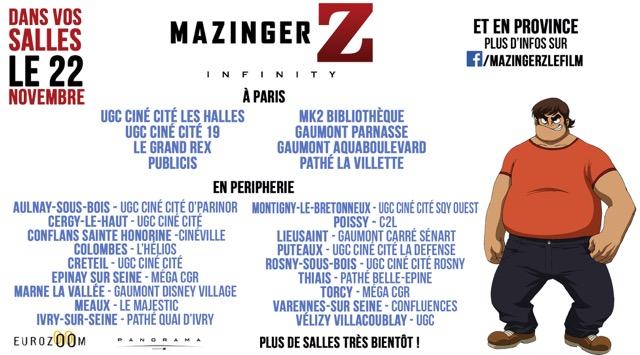 Mazinger Z : les salles à Paris et banlieue