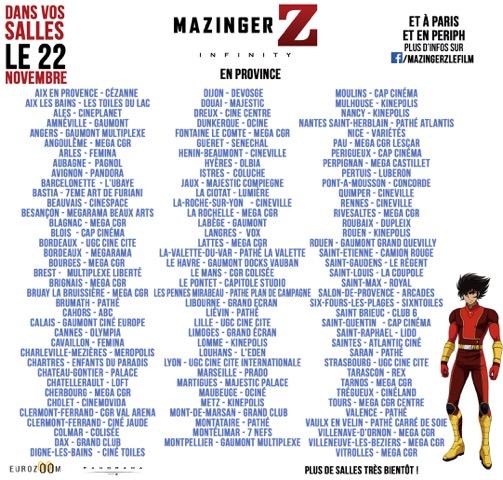 Mazinger Z : les salles en province
