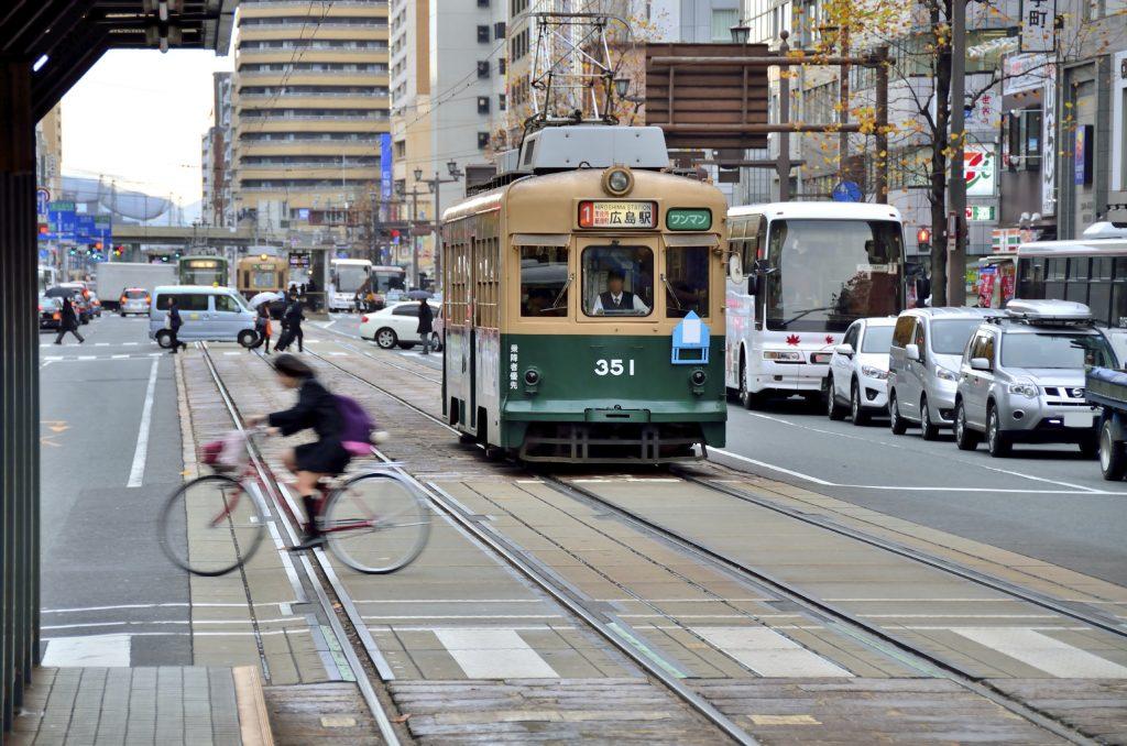 Le vieux tramway d'Hiroshima