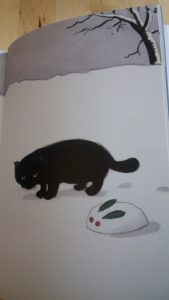 Mes chats écrivent des haikus, illustration : chat et lapin. Editions 2017.