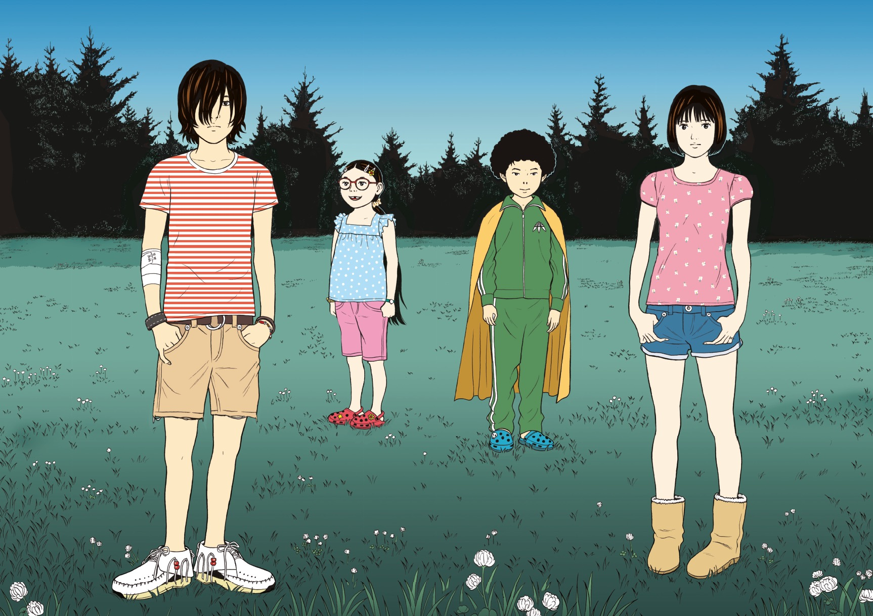 Hashi, Mari, Hideo et Hana (de gauche à droite) © 2017 by Minetarô Mochizuki / KODANSHA / Le Lézard Noir