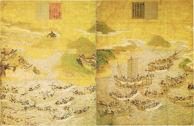 Représentation de la bataille de Dan no Ura par Tosa Mitsunobu