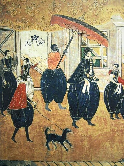 Un groupe de nanban ( barbares du sud ), des occidentaux arrivant au Japon
