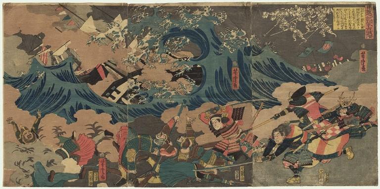 Illustration des vents divins s'abattant sur la flotte mongole.