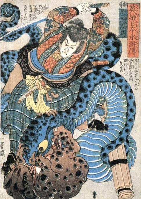 Estampe représentant Jiraya combattant un serpent avec un crapaud