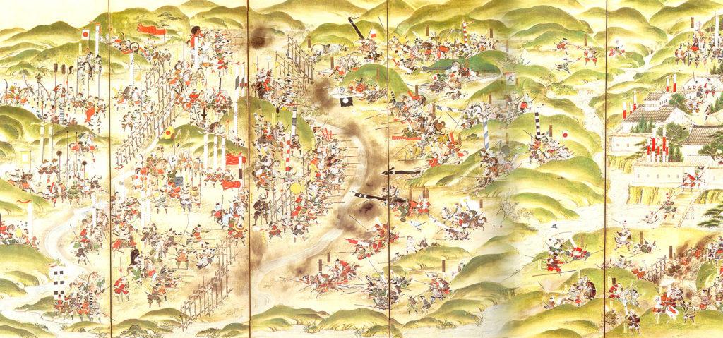 Peinture sur paravent de la bataille de Nagashino