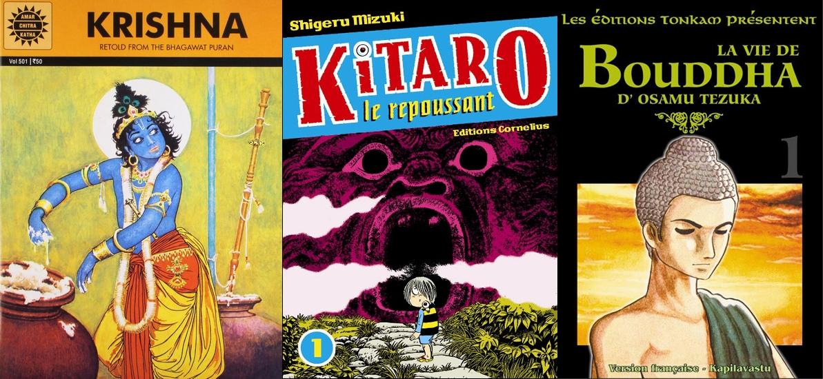 BD indienne Krishna (à gauche) ; Kitaro le repoussant de Shigeru Mizuki (au centre) et La Vie de Bouddha d'Osamu Tezuka (à droite)