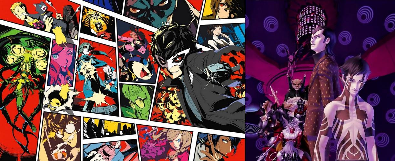 Persona (à gauche, le 5ème volet), spin-off qui vole la vedette à la saga Shin Megami Tensei (à droite, le 3 : Nocturne)