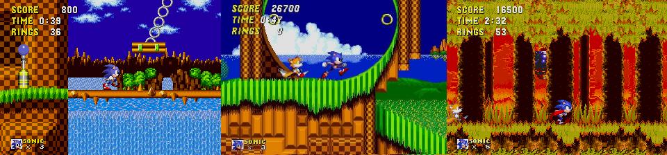 Les trois premier Sonic the Hedgehog (1991, 1992, 1994).