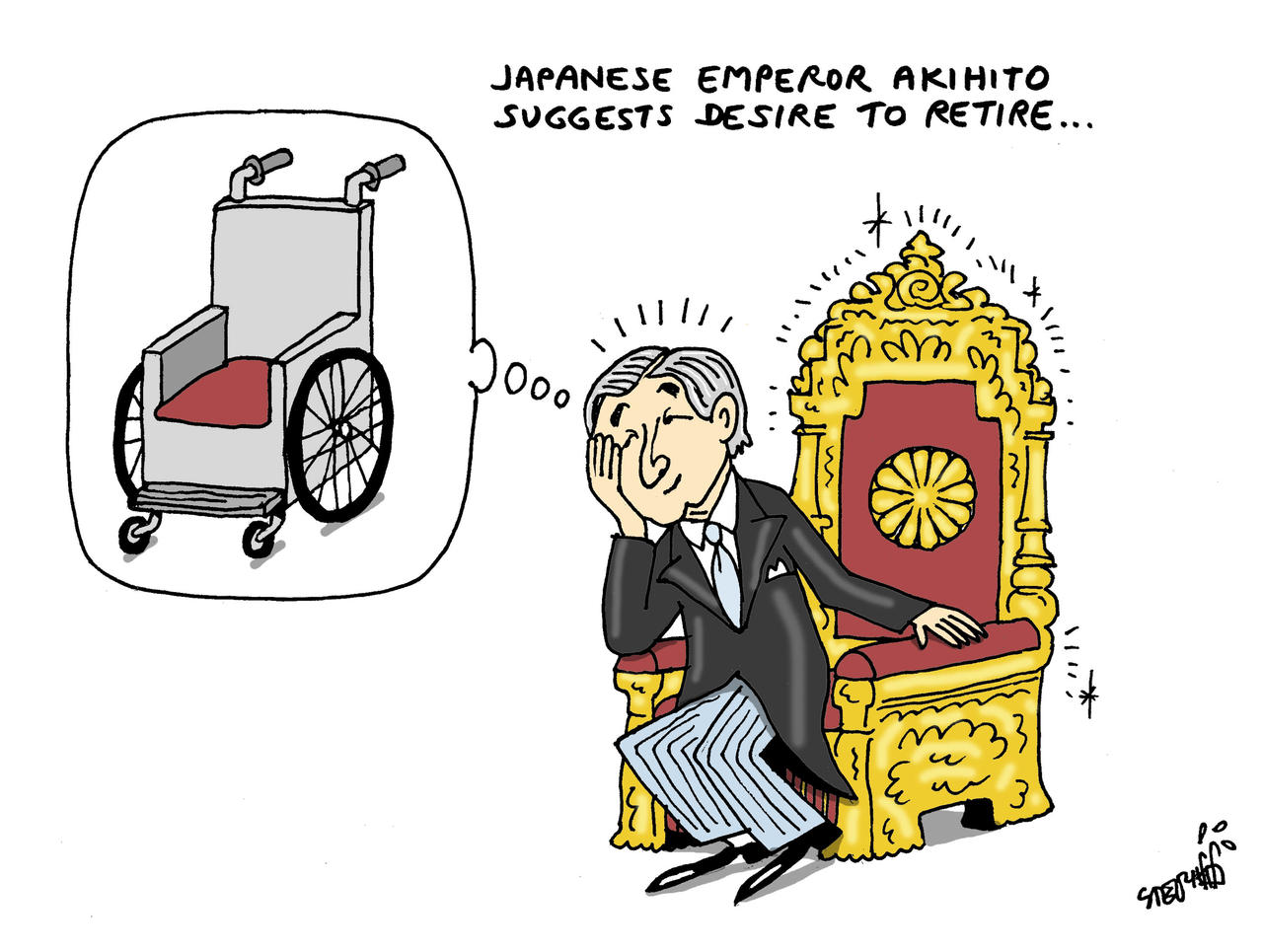 Dessin de Stephff en Thaïlande illustrant l'envie de l'empereur de quitter le trône