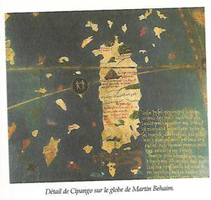 Détail de Cipango sur le globe de Martin Behaim (p.61 La découverte du Japon aux éditions Chandeigne)