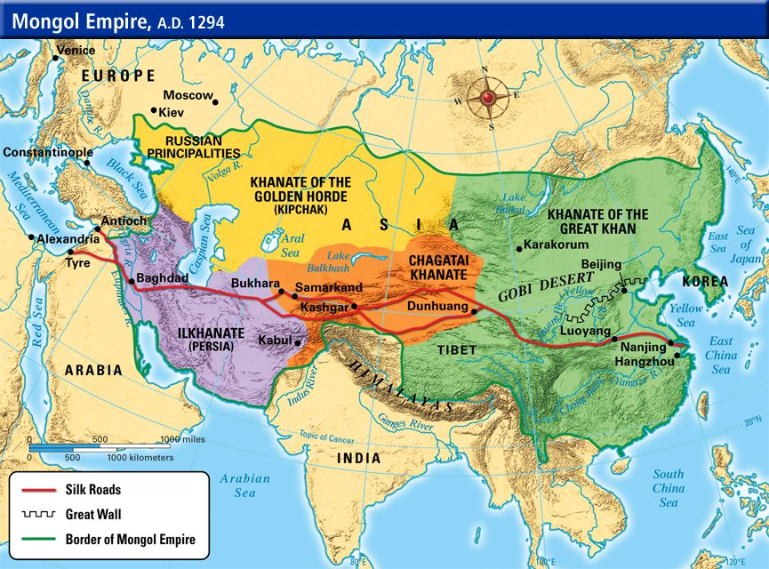 L'empire mongol en 1294