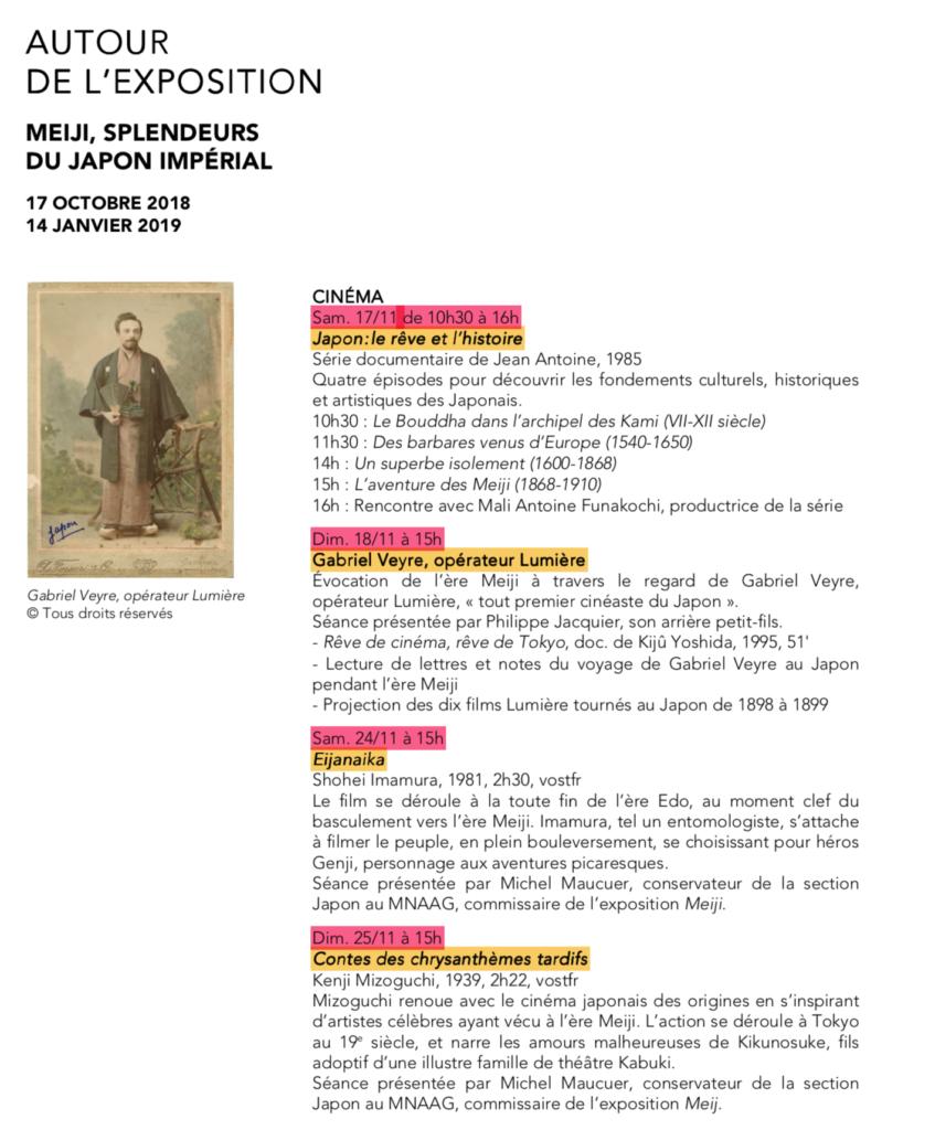 Meiji Splendeurs du Japon Programme