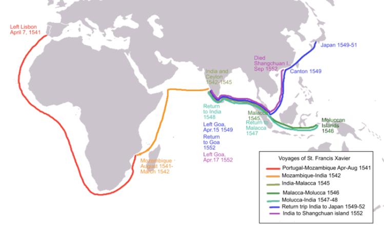 Carte avec les différents voyage de François Xavier pour sa mission d'évangélisation de l'Asie