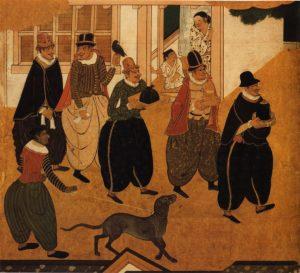 Détail d'un paravent Nanban (vers 1593-1600) attribué à Kanô Domi