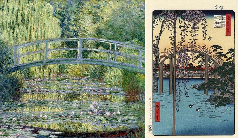 """""""Le Bassin aux nymphéas : harmonie verte"""" (1899) de Claude Monet et """"Le Pont aux glycines de Kameido"""" de Hiroshige"""