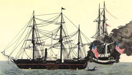 """Le débarquement des """"Vaisseaux Noirs"""" du commodore Perry le 8 juillet 1853"""
