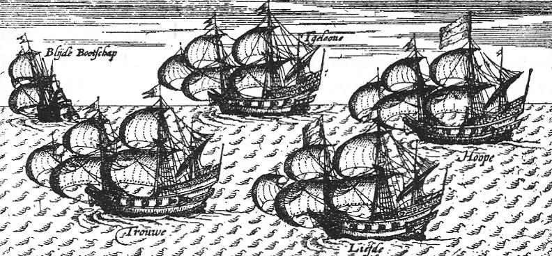 Les navires Blijde Boodschap, Trouw, Geloof, Liefde et Hoop (navire amiral de la flotte). Gravure du XVIIe siècle