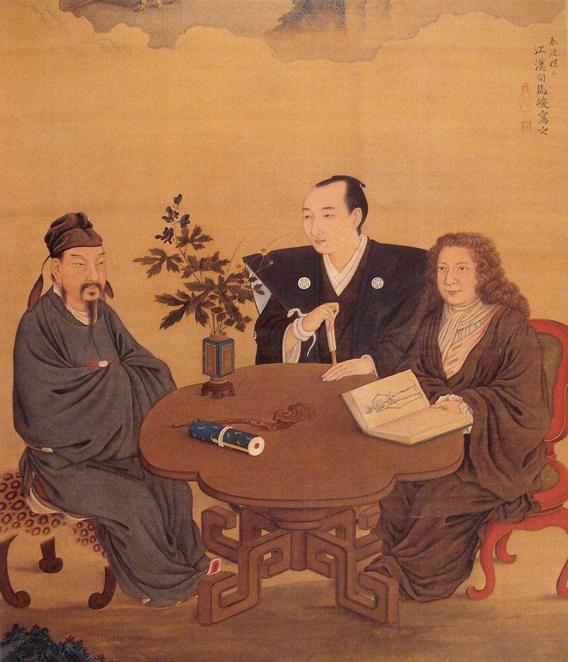 Rencontre entre le Japon, la Chine et l'Occident, de Shiba Kōkan, fin du 17e siècle
