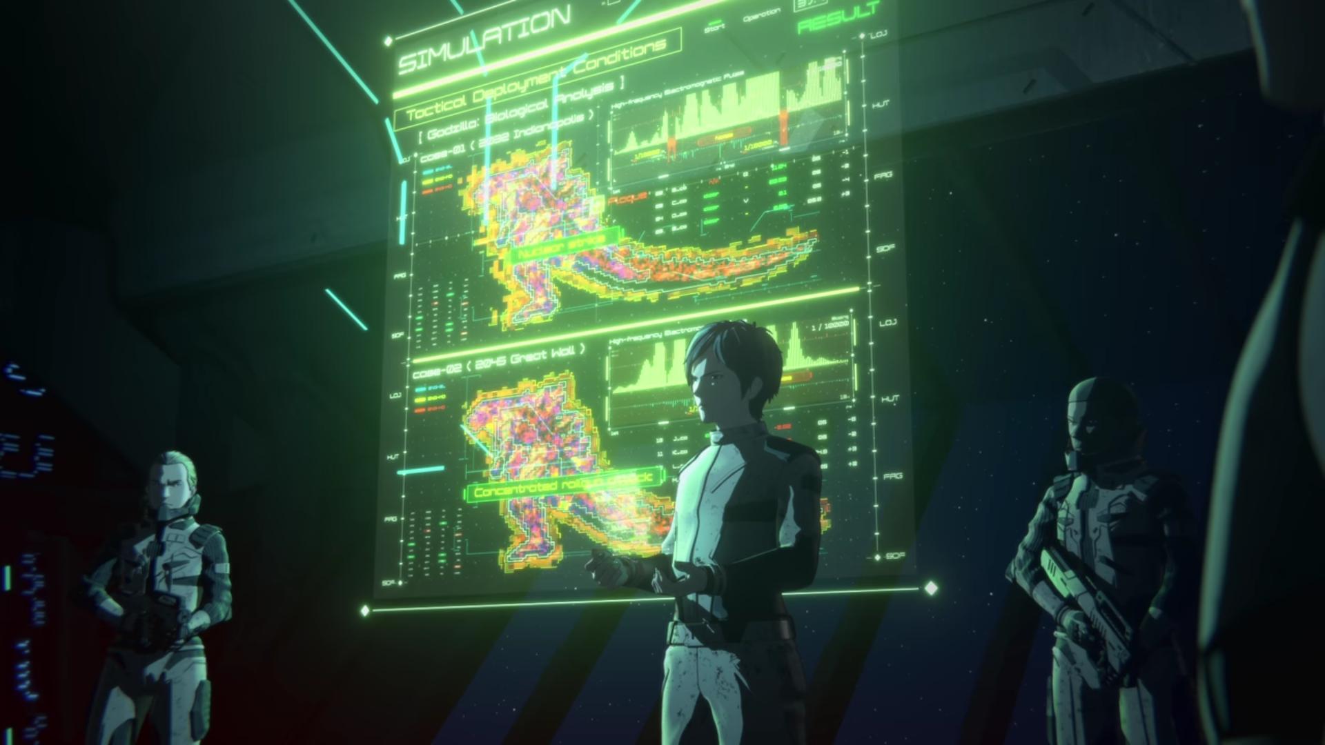 Haruo Sakaki expliquant son plan pour éradiquer Godzilla.