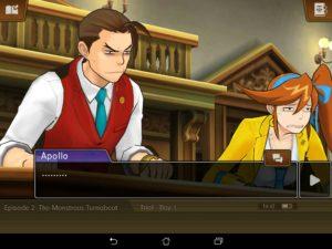 Apollo Justice Athena Cykes procès silence grimaces