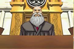 Ace Attorney juge tribunal barbe chauve