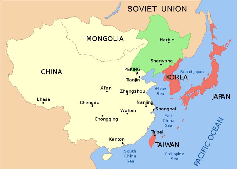 Carte centrée sur la Chine avec l'URSS et l'Empire du Japon
