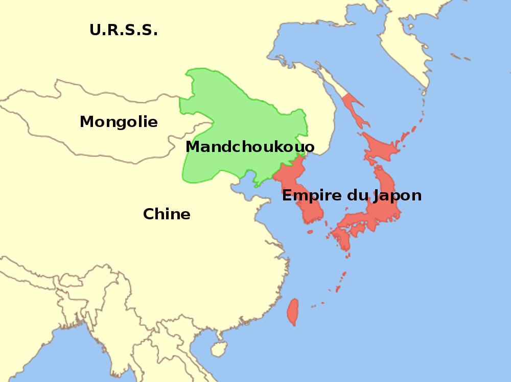 Carte de la République populaire de Mongolie et du Mandchoukouo en 1939