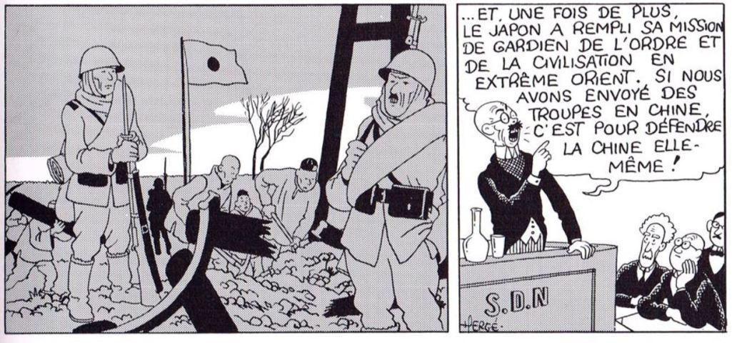 Incident de Moukden dans l'album Le Lotus Bleu de Tintin