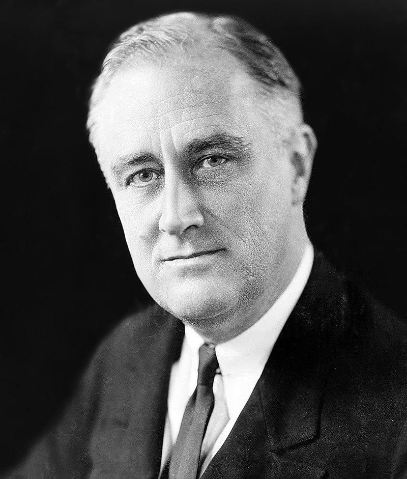 Franklin Delano Roosevelt, président des Etats-Unis et instigateur du New Deal pour sortir l'économie américaine de la Grande Dépression