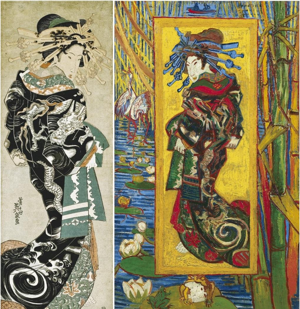 "Ukiyo-e ""Unryu Uchikake no Oiran"" de Keisai Eisen et la version de Van Gogh"