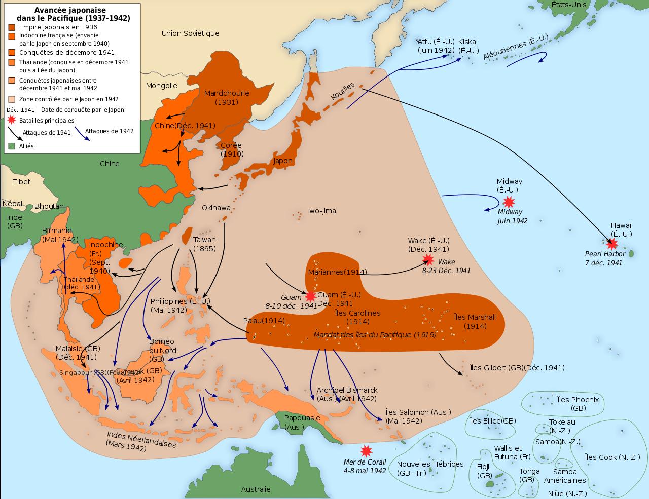 Carte de l'avancée japonaise dans le Pacifique de 1937 à 1942