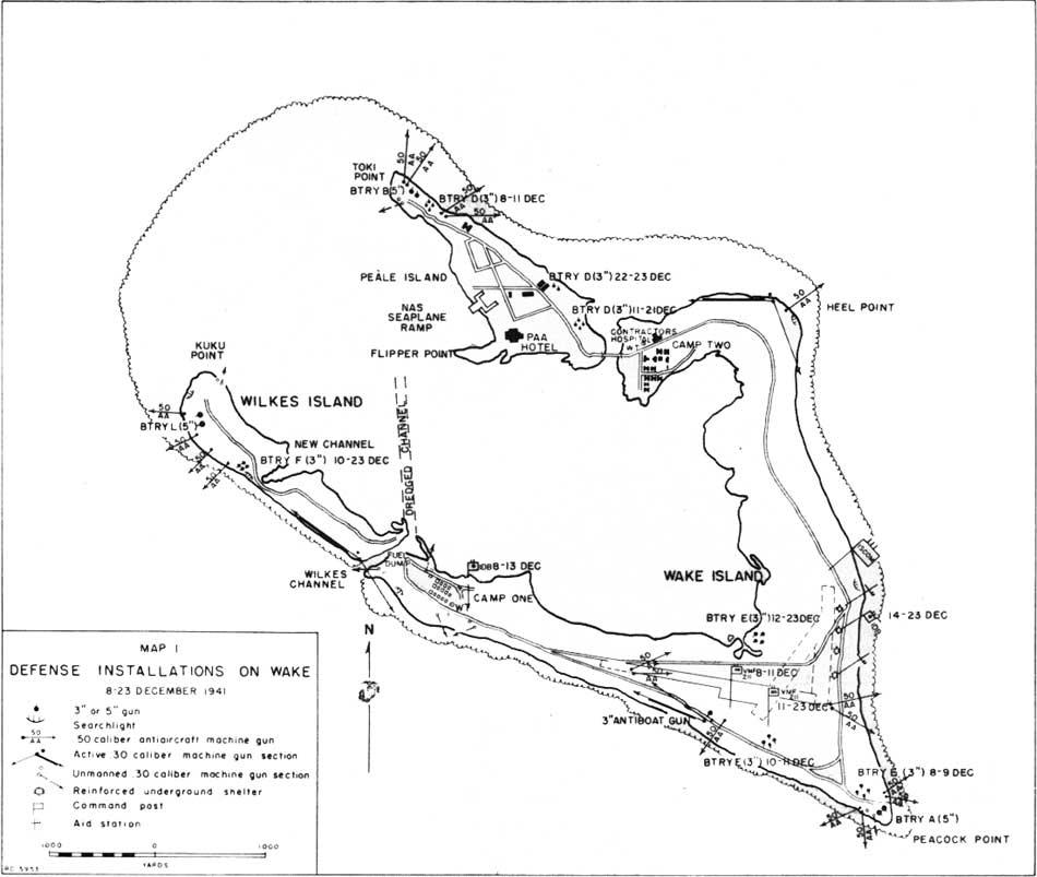 Carte des défenses de Wake en décembre 1941