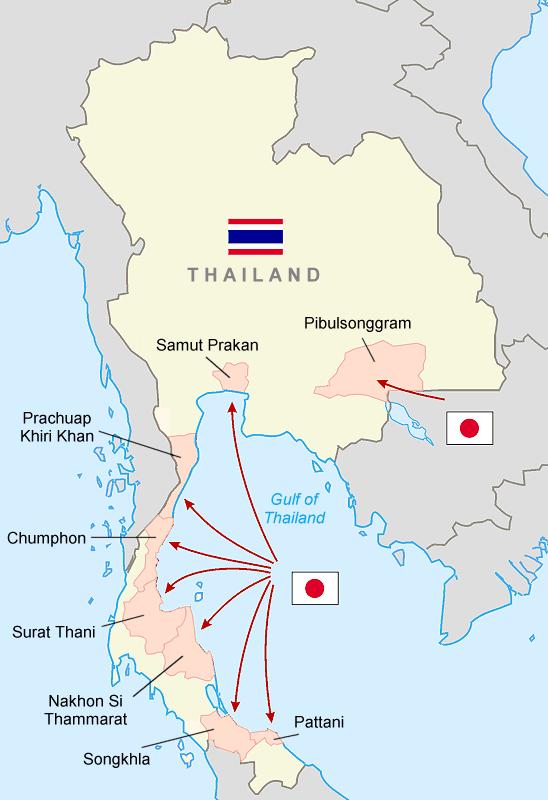 Invasion japonaise de la Thaïlande le 8 décembre 1941